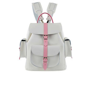 Grafea Rose Medium Leather Rucksack - White/Pink 			Womens Accessories - Free UK Delivery over £50