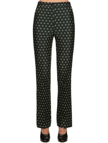 ALEXA CHUNG Flared Floral Jacquard Tailored Pants in black / green