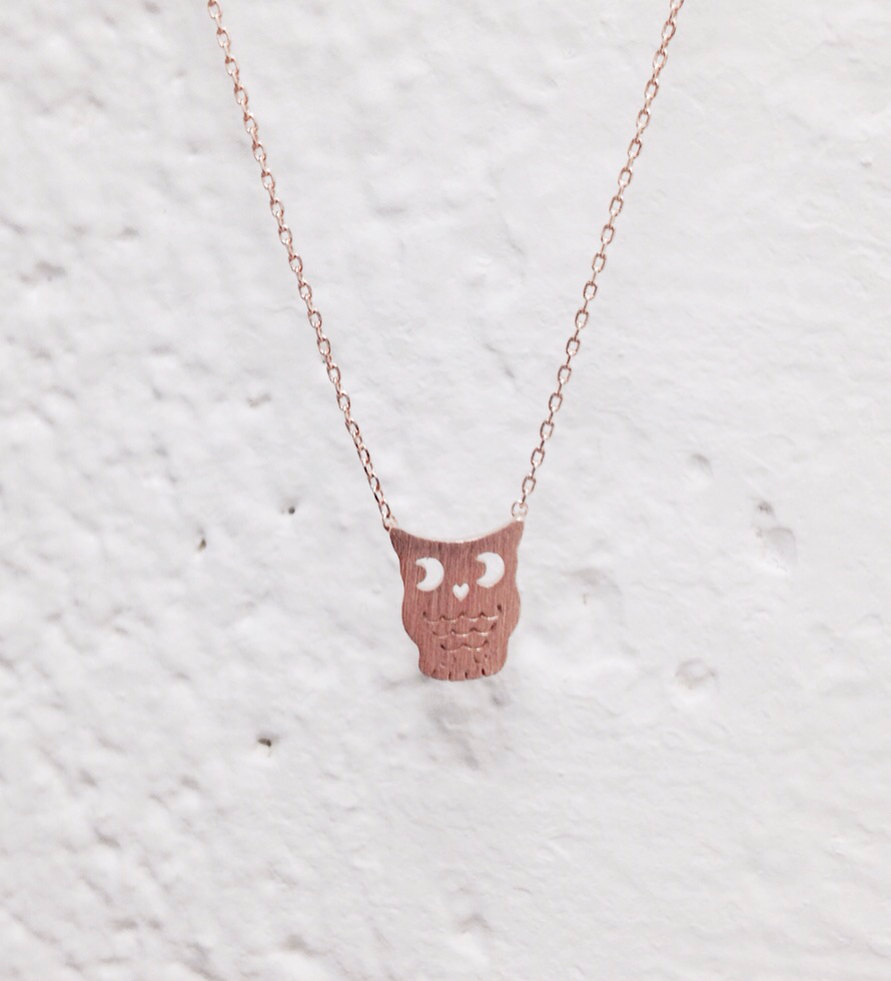 Owl Necklace - Rose Gold Necklace, Rose Gold Owl , Delicate Necklace, Minimalist Necklace, Dainty Necklace, Gifts under 20