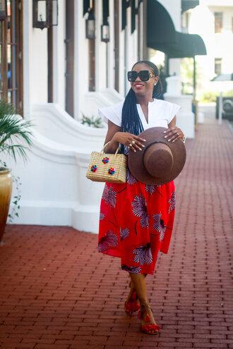 skirt midi skirt printed skirt summer hat basket bag cap sleeves top sandals blogger blogger style