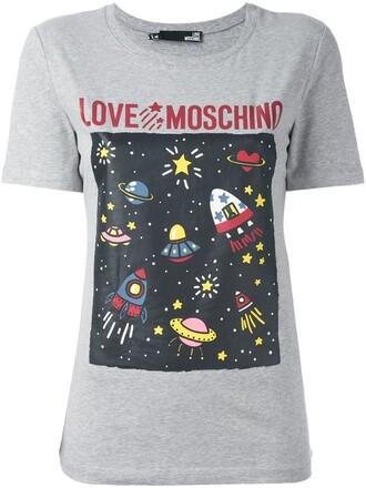 t-shirt shirt space print grey top