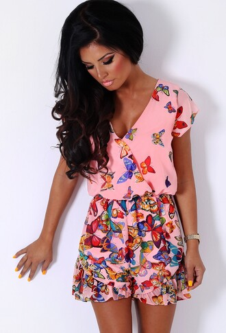romper pink boutique butterfly