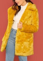coat,girly,girl,girly wishlist,yellow,yellow coat,long,long coat,fur,fur coat,cute