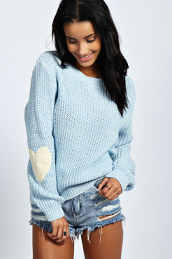 Harper Heart Elbow Patch Jumper at boohoo.com