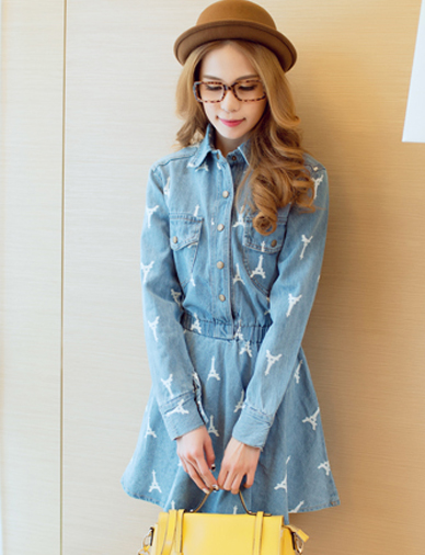 Vogue eiffel tower print denim shirt dress with long sleeve