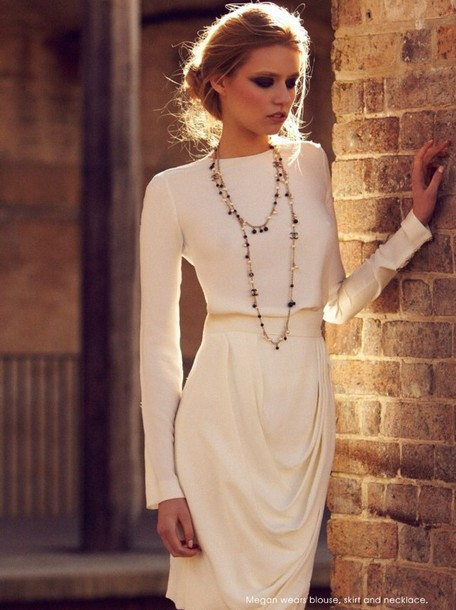top off-white white turtleneck updo pencil skirt