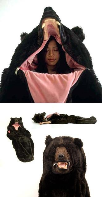 home accessory sleeping bag bear funny cute camping