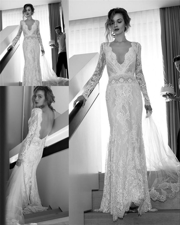 Maxi Ancient Greek Style Dress With Deep Neckline And: 2016 Spring Lihi Hod Mermaid Wedding Dresses Long Sleeves