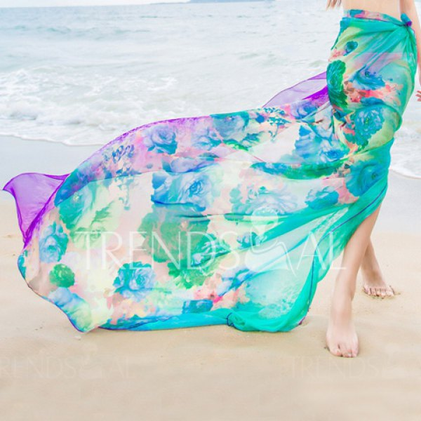 Chic Magnificent Peony Pattern Chiffon Sarong For Women