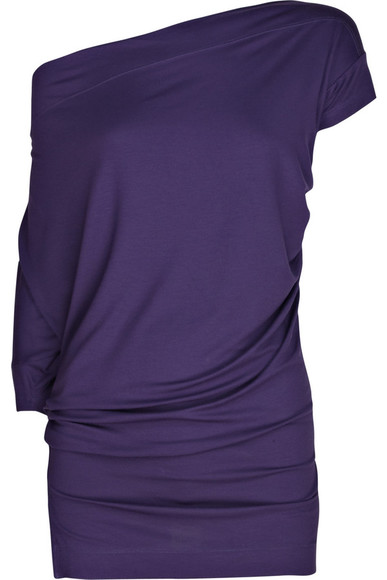 shirt loose fit blouse top purple top off the shoulder asymmetrical top long shirt short and long sleeve
