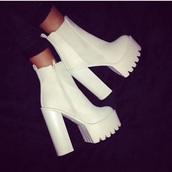 white heels,white boots,grip sole,heels,boots,block heels