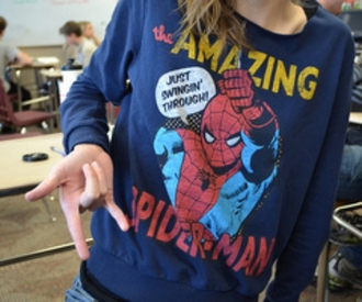 sweater spiderman jumper comfy spider-man hoodie jacket shirt top pullover marvel navy blue yellow red white superheroes