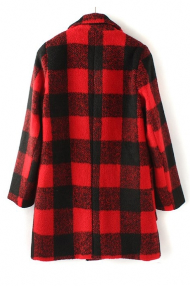 Red & Black Plaid Pattern Wool Coat