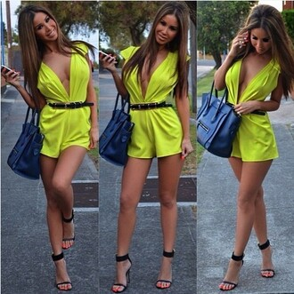 jumpsuit lime v neck romper cap sleeves