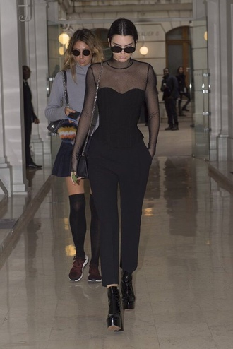 top pants kendall jenner fall outfits all black everything paris fashion week 2016 model off-duty kardashians sunglasses