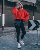 sweater,red sweater,black jeans,sneakers,white sneakers,sunglasses,bag,jeans,chanel bag