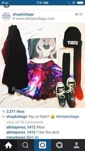 shirt,galaxy print,converse,knee high socks,alice in wonderland,cardigan,skirt,sunglasses,jacket,hat