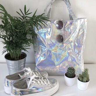 bag tumblr grey silver rainbow grunge shoes