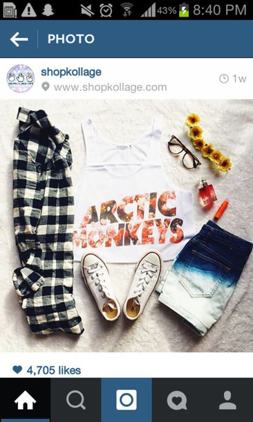 arctic monkeys t-shirt ombre shorts hair accessory