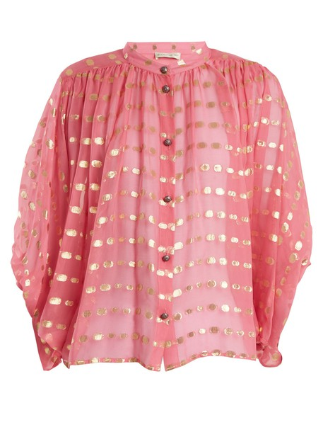 ETRO blouse chiffon blouse chiffon gold pink top