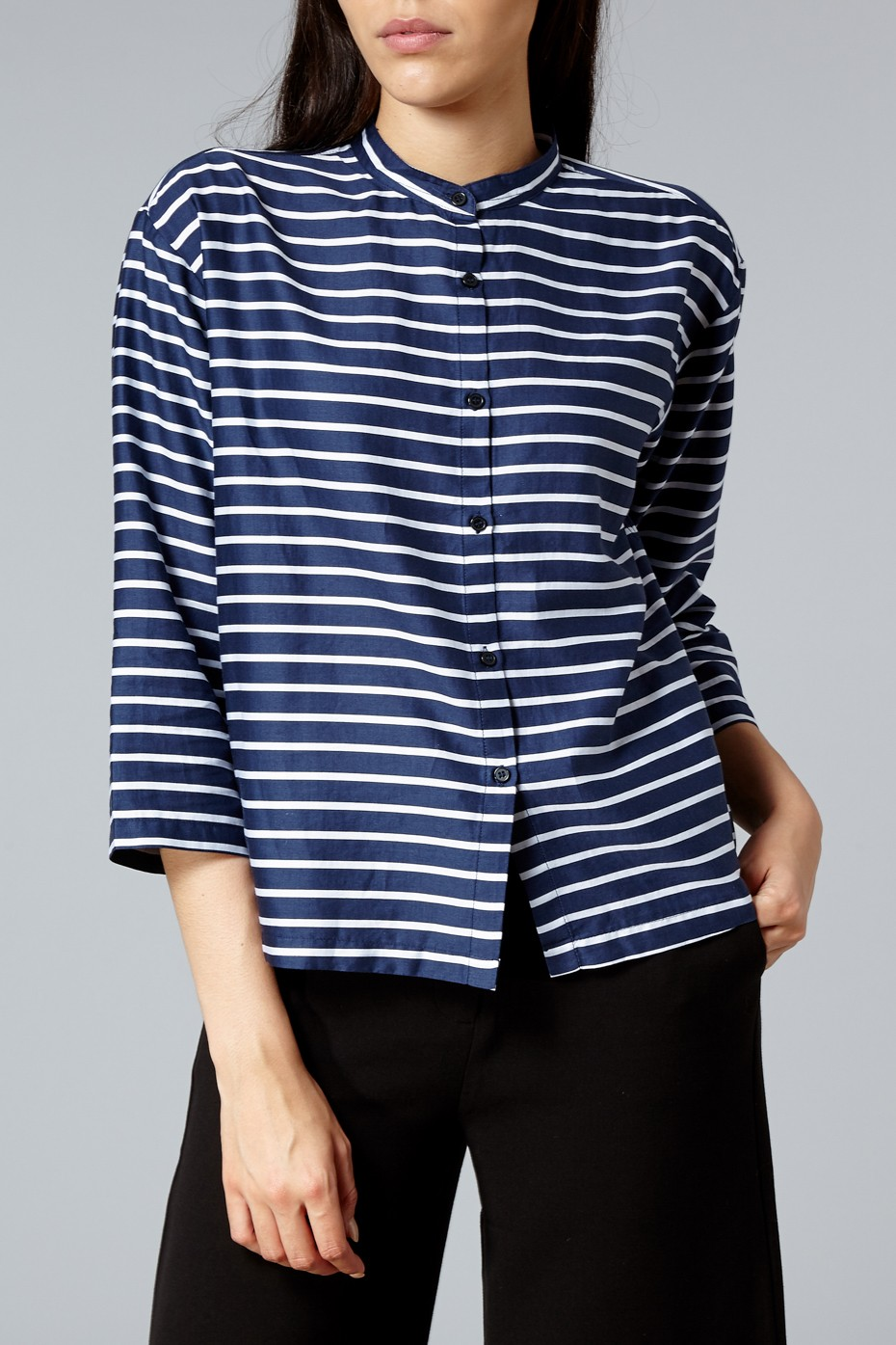 Mads Norgaard Navy and White Soft Printed Boutique Sudina Shirt