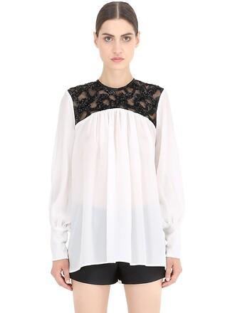 shirt embellished silk white black top