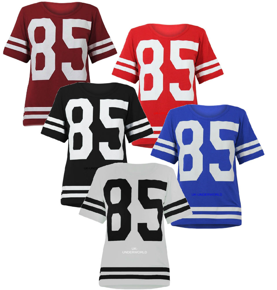 Adults Womens Girls Varsity 85 Oversized T Shirt American Football Top s M L | eBay