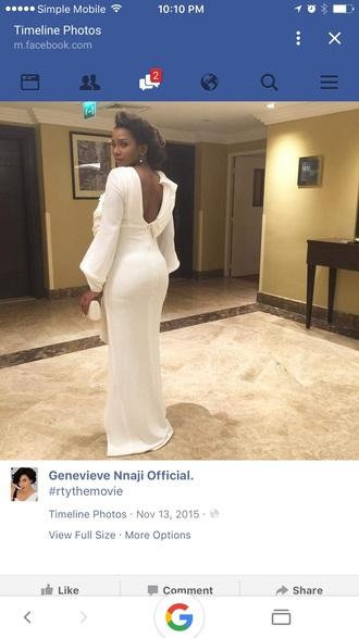 dress low back dress ivory dress long sleeve dress white dress