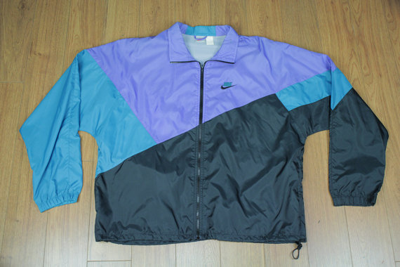 3538e0855401 Vintage Nike Air Windbreaker Jacket Zip 80s 90s Multi Color Purple ...