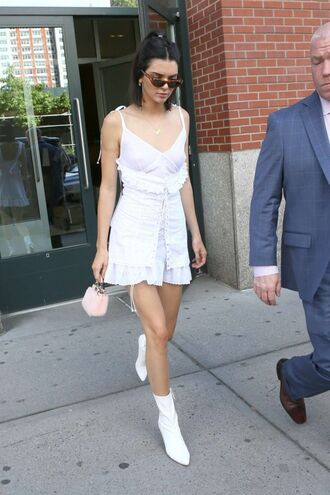 dress mini dress white white dress ankle boots sunglasses kendall jenner summer dress summer outfits