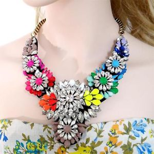 Vintage Style H Quality Neon Multi Flower Swarovski Crystal Statement Necklace | eBay