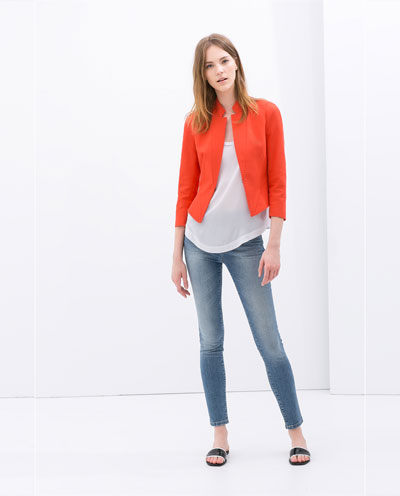 blazer court blazers vestes femme zara france. Black Bedroom Furniture Sets. Home Design Ideas
