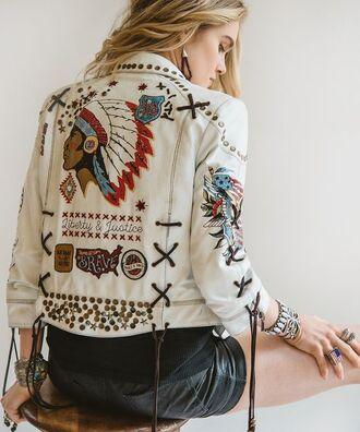 jacket boho jacket boho chic boho white jacket embroidered jacket shorts leather shorts bracelets ring