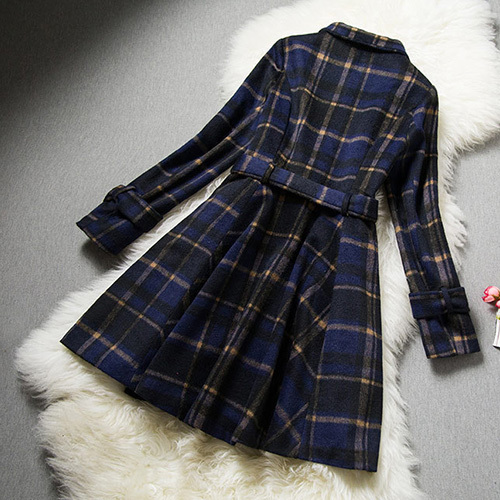 Breasted grid pattern woolen coat