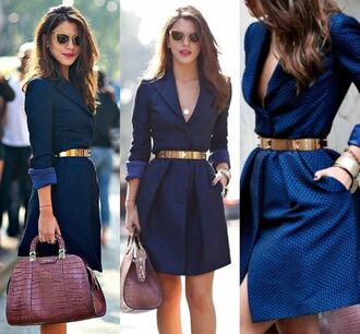 coat blue coat gold belt blue dress beautiful dresses beautiful coats winter coat winter jacket jacket blue jacket long dress long sleeves long coat