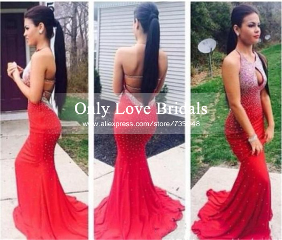 Aliexpress.com : buy 2015 stunning red halter backless sequined beads key hole sexy long mermaid formal evening/prom dresses vestido de festa from reliable beads international suppliers on only love bridals