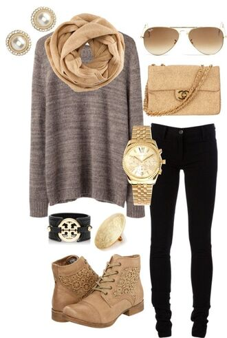 bag purse chanel cute shoes jewels sweater gold warm sweater scarf beige scarf jeans earrings earphones gloves sunglasses blouse