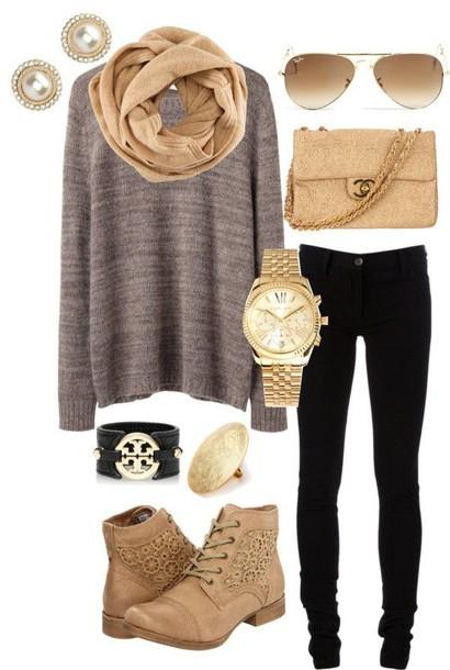 bag purse chanel cute shoes jewels sweater gold warm sweater scarf beige scarf jeans earrings earphones gloves sunglasses blouse
