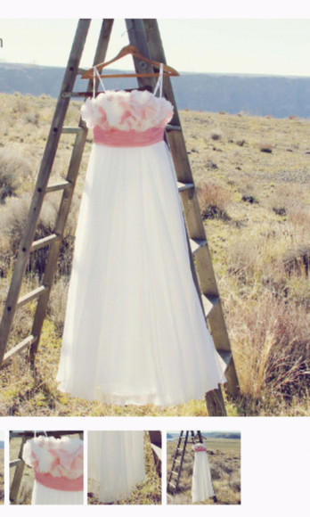 pink flowers dress white long dress