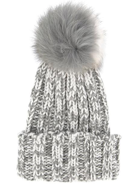 fur fox women beanie grey hat