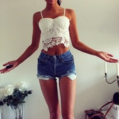 blouse,white,lace,crop tops,hot,cute,summer outfits,bralette,spagetti straps,top,white laced