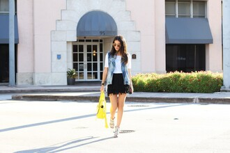 the material girl blogger t-shirt jacket skirt shoes sunglasses bag