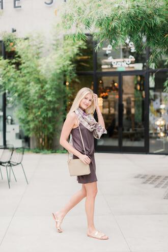 modern ensemble blogger dress scarf shoes bag shoulder bag sandals flat sandals
