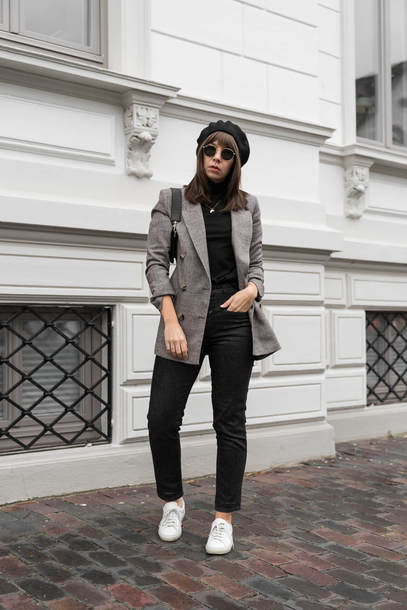 jacket tumblr blazer grey blazer top black top turtleneck black turtleneck top denim jeans black jeans sneakers white sneakers beret