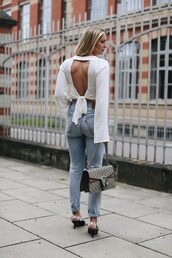 top,tumblr,open back,backless,backless top,white top,long sleeves,denim,jeans,shoes,bag,open back top,sexy,sexy top