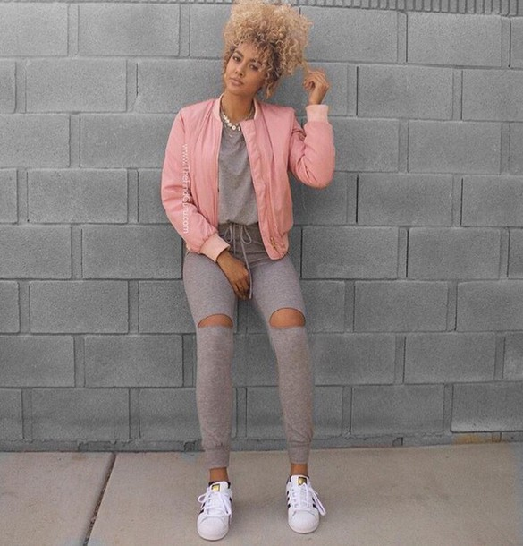 jacket leggings pink curly hair ripped trainers adidas