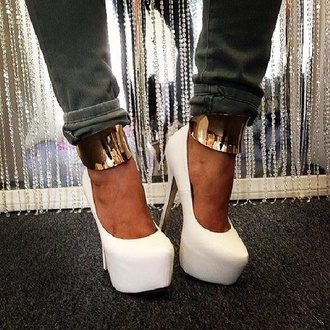 shoes high heels gold gold ring gold high heels gold heels white high heels white heels cute high heels cream high heels