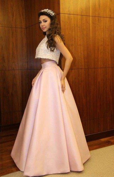 two-piece pastel pink prom