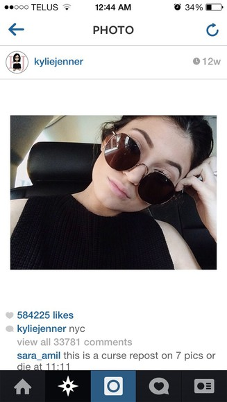 sunglasses round sunglasses glasses kylie jenner kendall and kylie jenner
