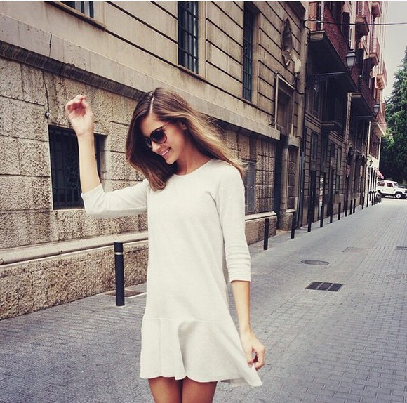 dress long sleeve dress white dress romantic dress skater dress nude nude dress white